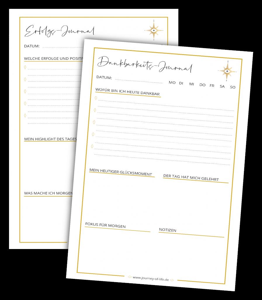 zwei Journaling-Vorlagen - Dankbarkeits-Journal und Erfolgs-Journal